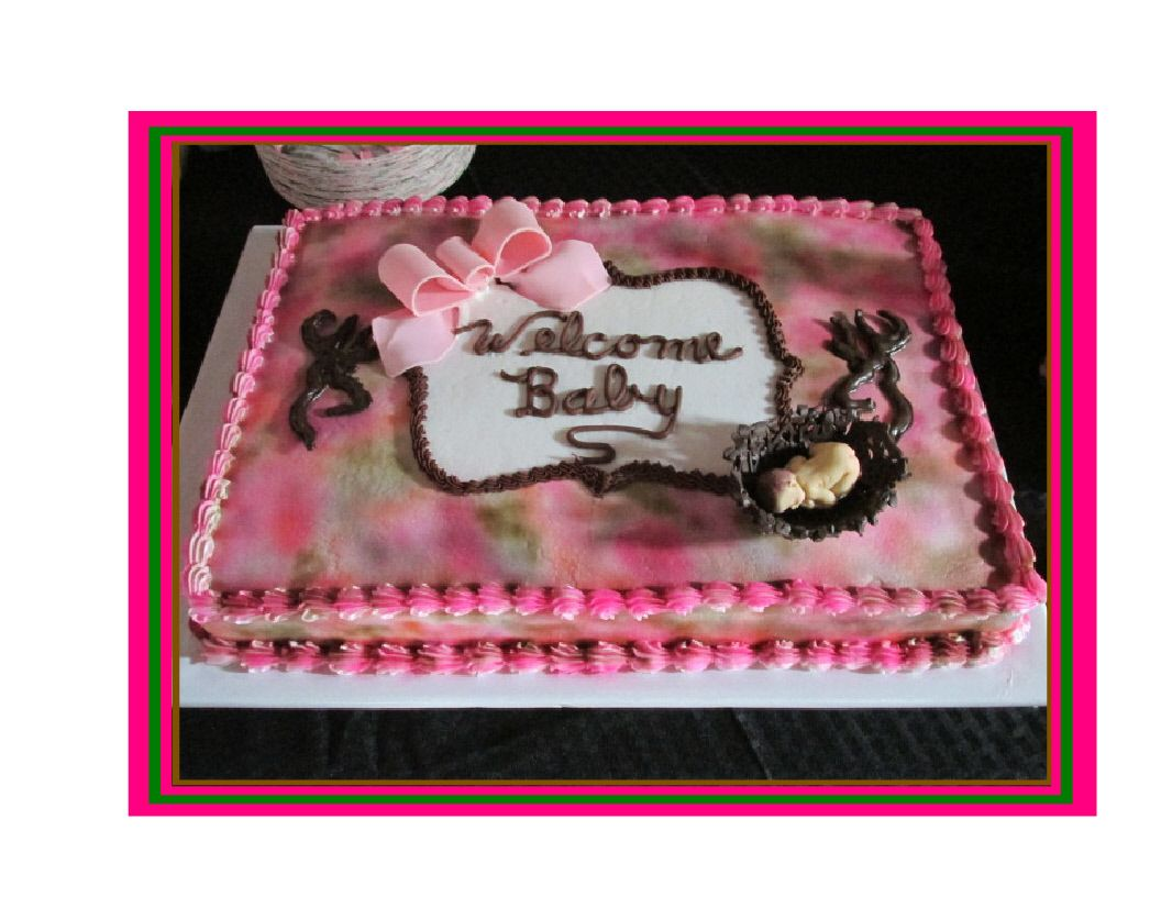 Pink Camo Baby Shower Cake. Airbrushed buttercream with fondant bow and  chocolate basket with fondant baby.