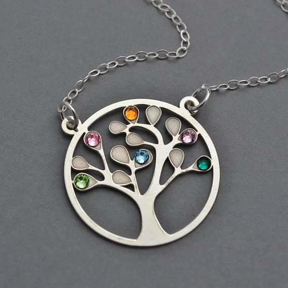 Tree of life necklace sterling silver family tree necklace family tree necklace sterling silver tree of life with swarovski birthstone tree of life aloadofball Gallery
