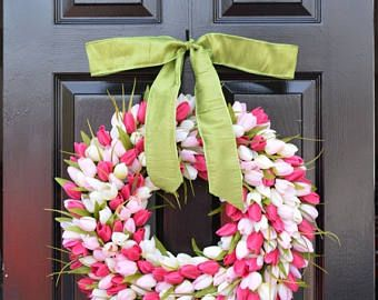 SUMMER WREATH SALE Sunny Tulip Spring Wreath Tulip Wreath