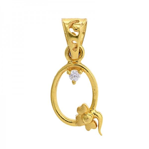 Women's fancy script style 'Q'  #initialpendant, crafted in matte and shiny finish #22karat yellow gold, studded with #cubiczirconia accents.  - See more at: https://www.rajjewels.com/cz-22-k-gold-ladies-initial-q-pendant-gp10678.html#sthash.OXoWlh4c.dpuf