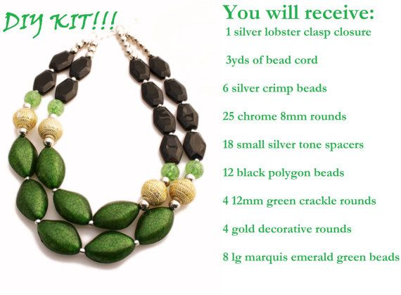 Diy do it yourself double strand statement neclace kit beads diy do it yourself double strand statement neclace kit beads necklace green solutioingenieria Images