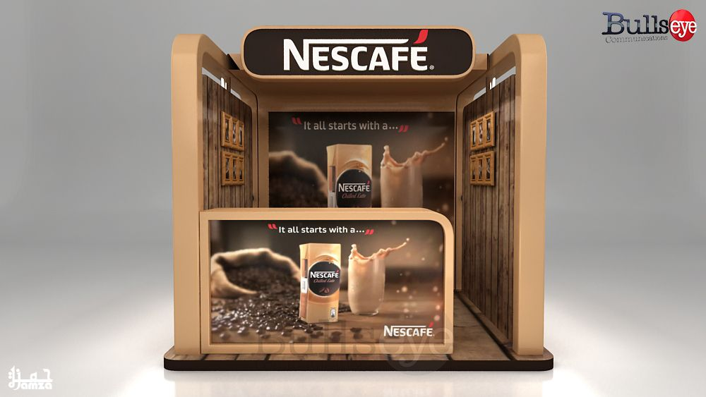 Nescafe Chilled Latte sampling and selling booth ออกแบบ