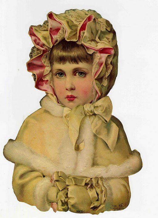 GIRL WINTER PINK BONNET HAT CLOAK WHITE CHILD MITTENS ART  PAPER SCRAP EF GERMAN