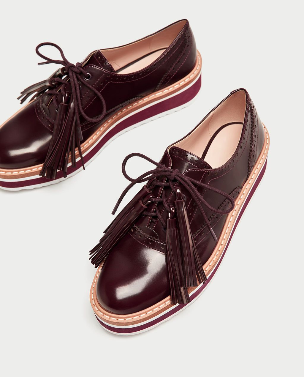 PLATFORM BROGUES WITH FRINGING View all SHOES WOMAN | ZARA