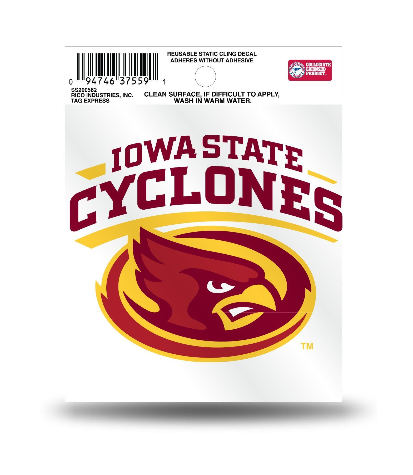 info for c3782 94877 Iowa State Cyclones Mascot Logo Static Cling Sticker NEW!! Window or Car!  NCAA