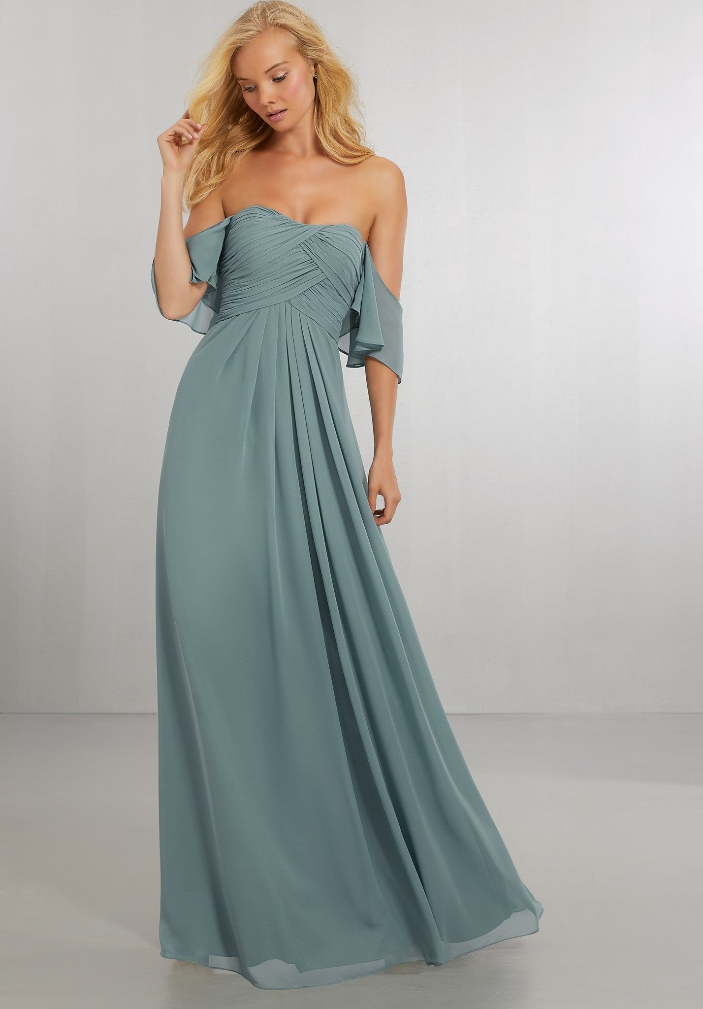 Boho chic chiffon bridesmaids dress with off the shoulder neckline