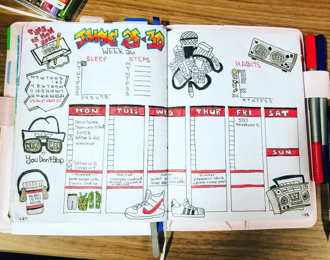 Week 26 and the final 80s themed weekly spread  This one is