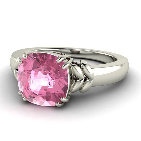 Cushioncut Natural Pink Tourmaline Solitaire by Diamondere on Etsy, $457.00
