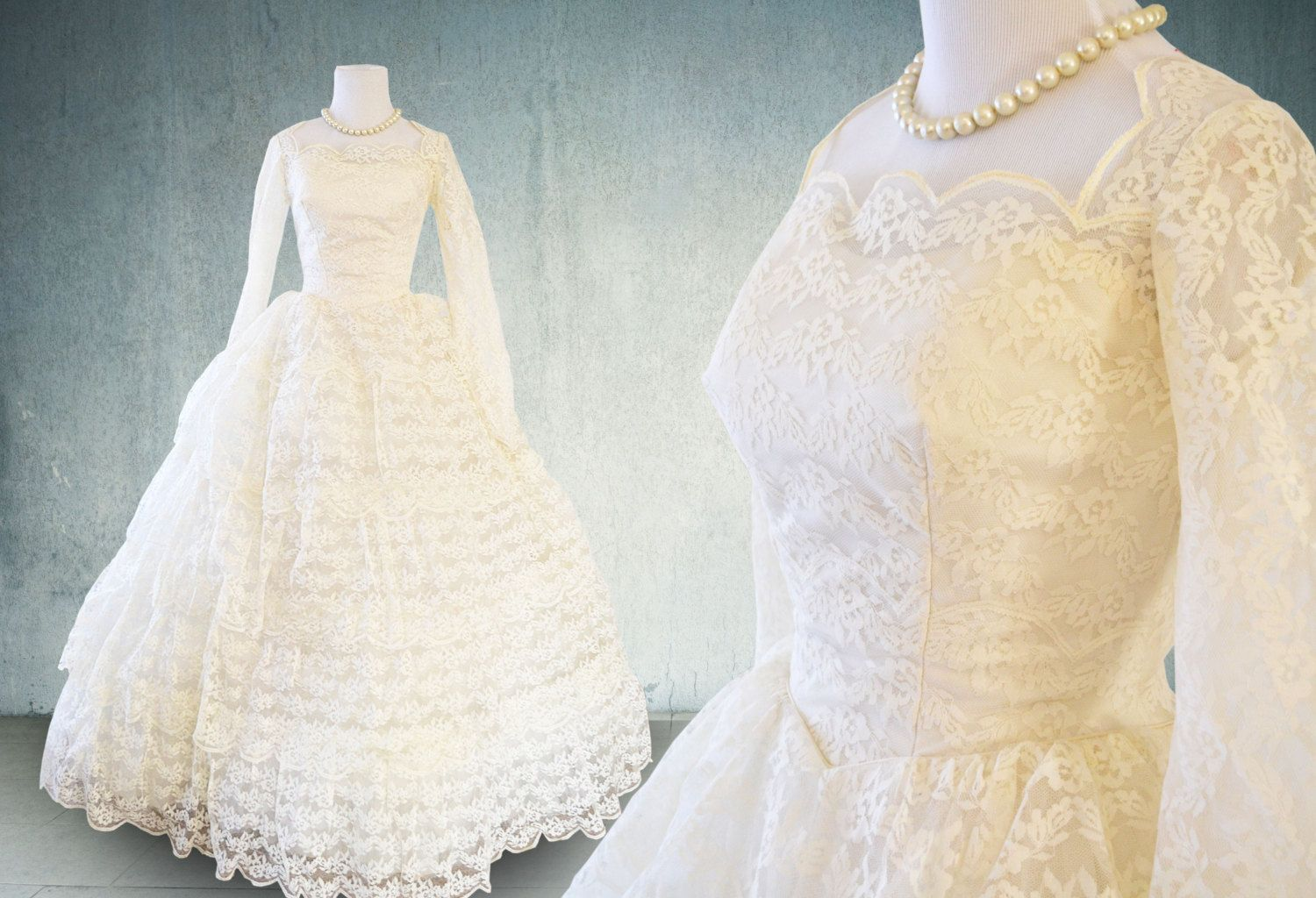 Summer sale s wedding dress with sleeves lace and tulle tiered