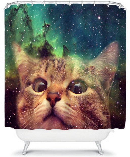 Epic Space Cat Shower Curtain In By XOnceUponADesignx