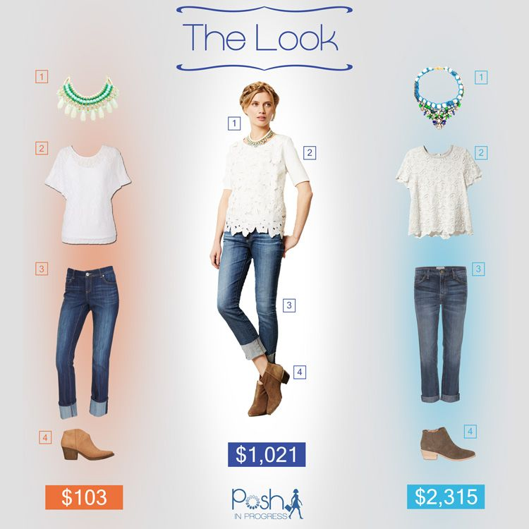 One Look, Three Price Points. Cuffed Jeans, Lace Blouse and Booties @Anthropologie @Rachel Zoe @Current/Elliott @Forever 21 @Charlotte Russe #collage #looks #fashion #style #styletips #fbloggers #fashionblog #lookforless #spring2014