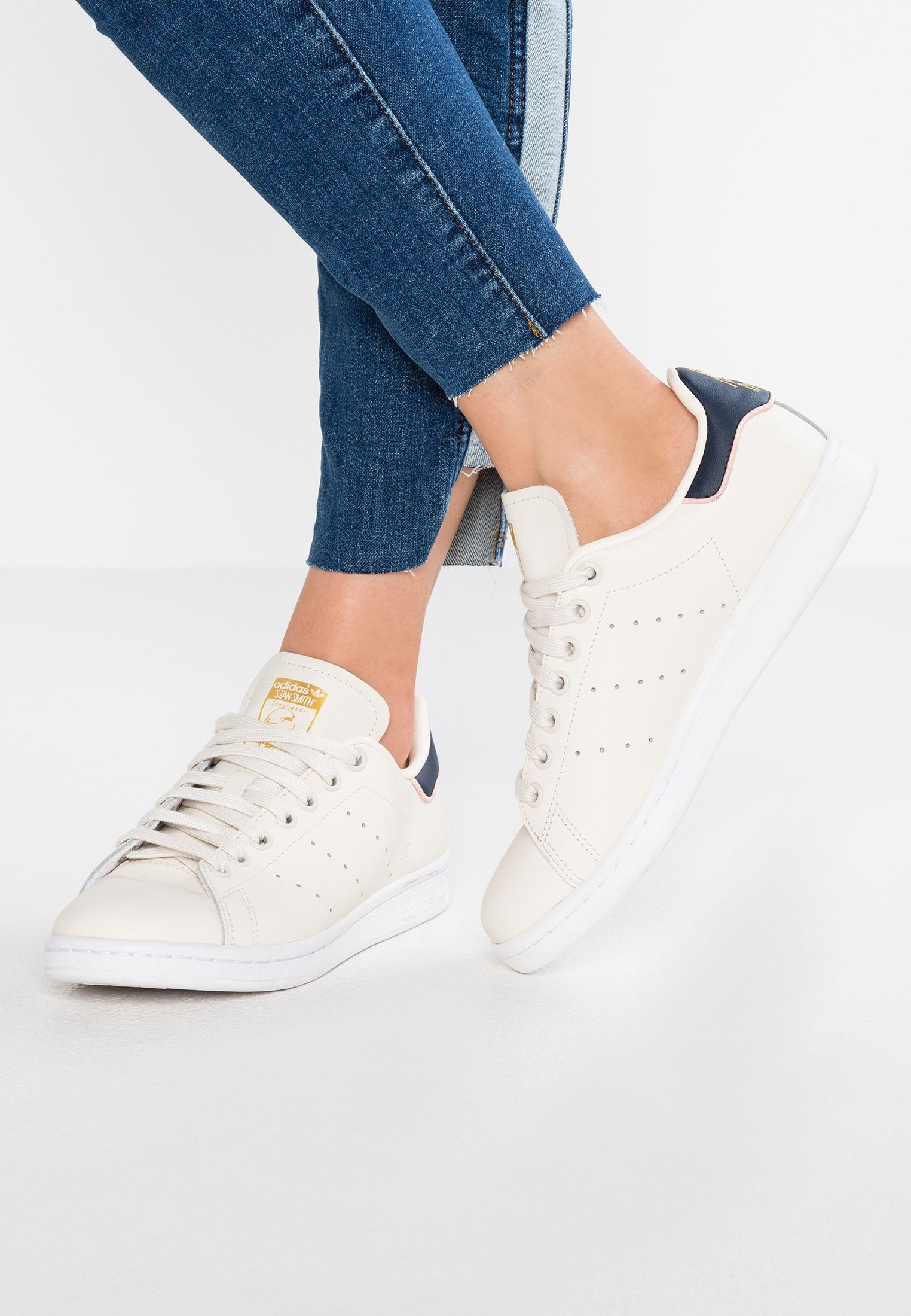 STAN SMITH - Sneakers laag - chalk white/collegiate navy ...