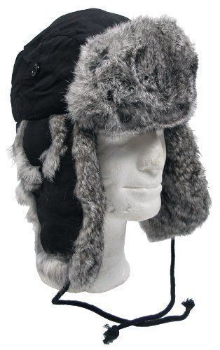 8d0b9a1f7ec Extra Warm Black Trapper Hat Russian Winter Cap Ear Flaps Grey Rabbit Fur  SIZE S