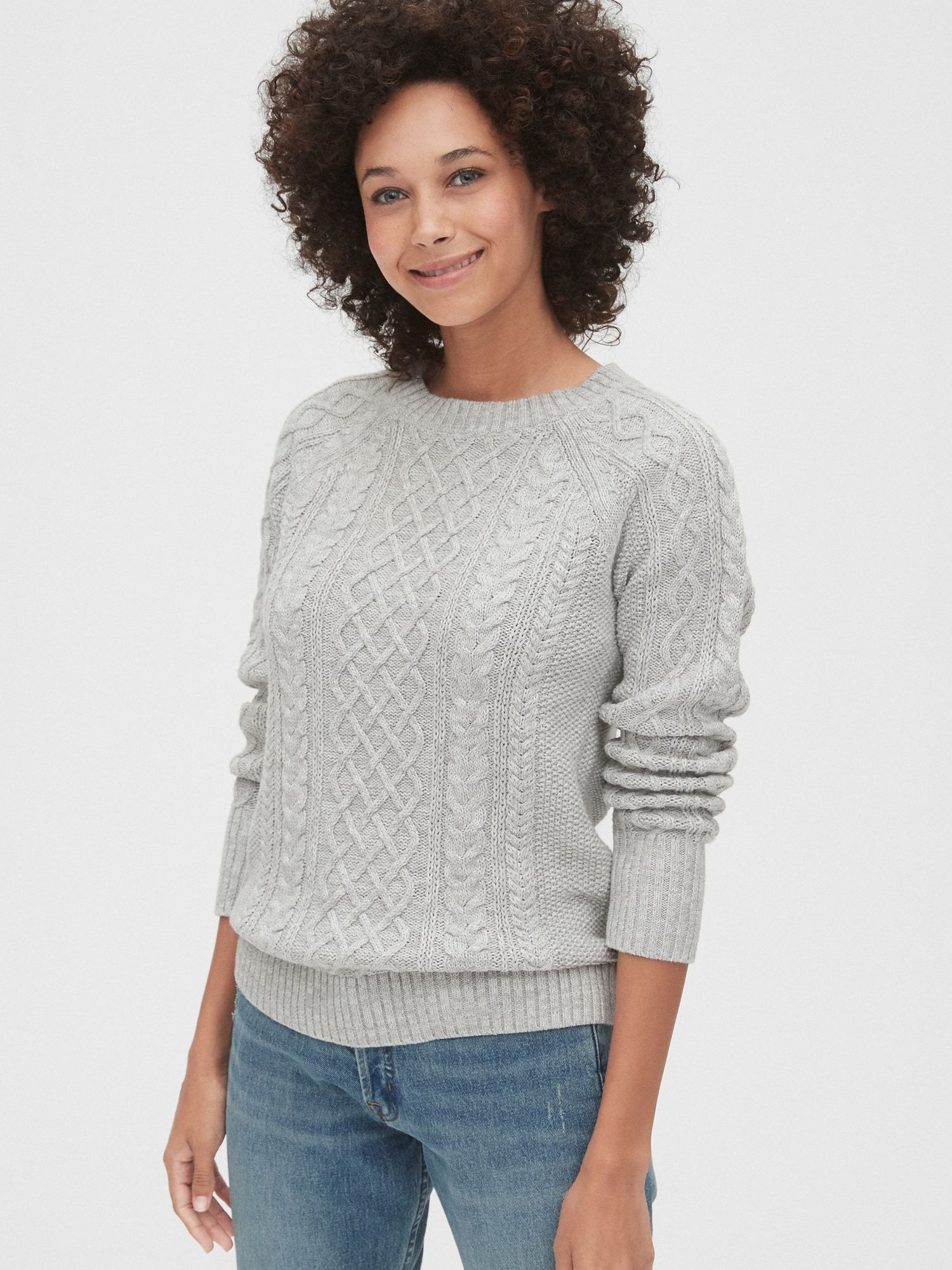 Cable Knit Crewneck Sweater Gap Sweaters For Women Sweaters Crew Neck Sweater [ 2000 x 1500 Pixel ]