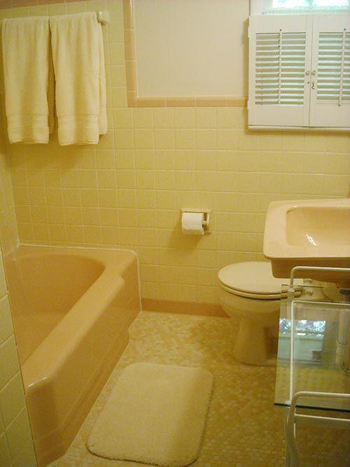 Terrific Bathroom Tile Ideas From 12 Reader Bathrooms Yellow Bathroom Tiles Yellow Bathrooms Yellow Bathroom Decor