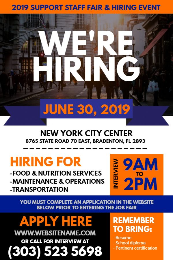 Blue orange hiring flyer design Click to customize Hiring - now hiring flyer template