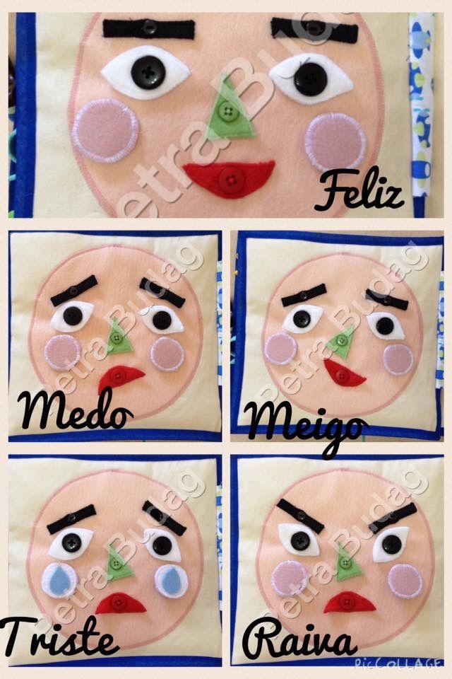 Página Expressões, as crianças podem demonstrar seus sentimentos a partir dos movimentos de olhos, sobrancelhas, nariz, boca e bochecha rosada ou com lágrima. @petrabudag