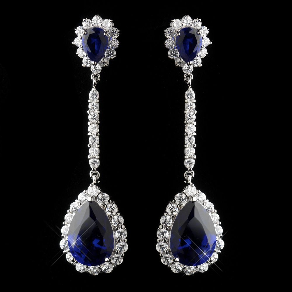 Glamorous Sapphire Cz Crystal Drop Wedding Earrings With Images Bridesmaid Jewelry Sets Wedding Earrings Sapphire Blue Earrings