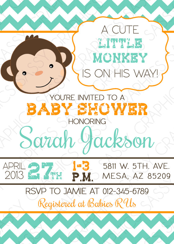 Monkey baby shower invitation baby boy chevron teal orange little boys baby shower invitation monkey theme chevron blue by sassygfx 1300 filmwisefo