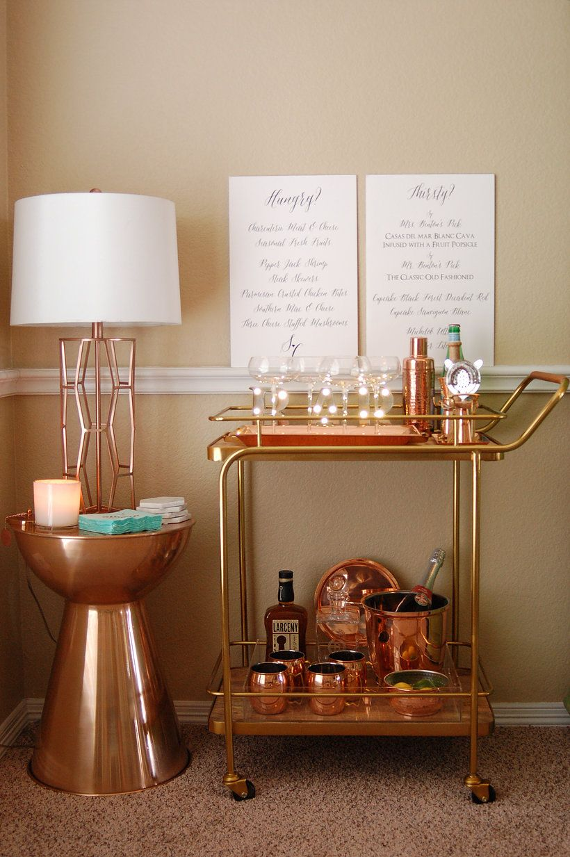 Bar Cart Styling - copper bar tools, copper bar, rose gold bar ...