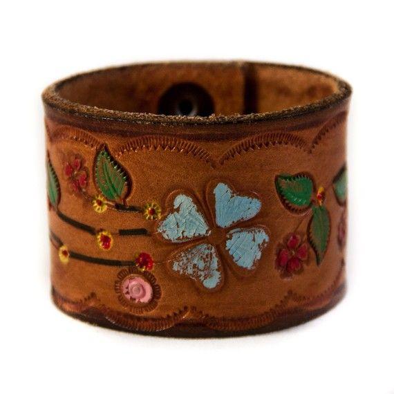 Gypsy Boho Chic Leather Cuff $55 http://www.rainwheel.etsy.com