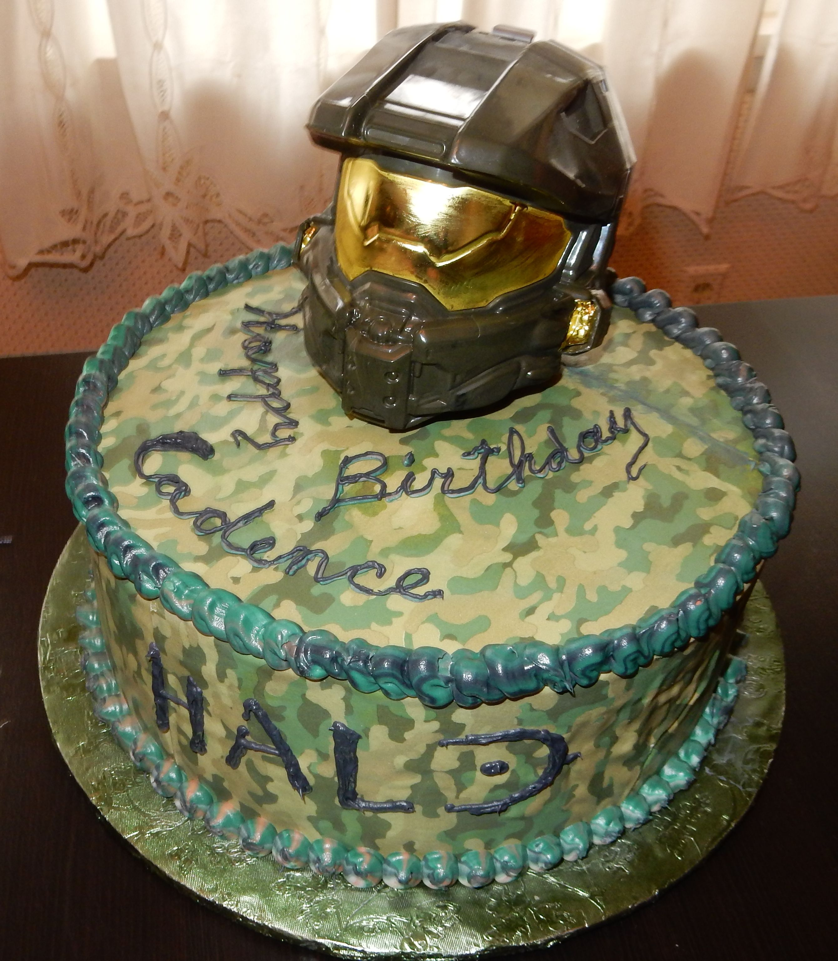 Terrific Halo Cake For 9 Year Old Halo Birthday Parties Halo Party Lego Funny Birthday Cards Online Alyptdamsfinfo
