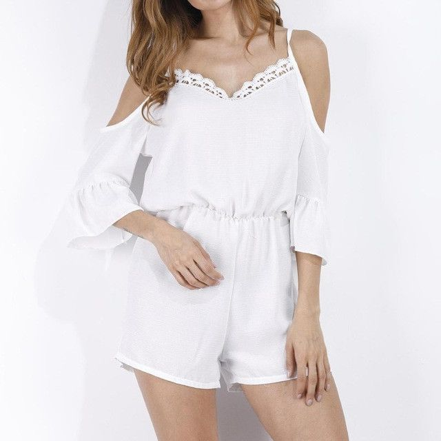 e6c9977587 New Fashion Women V Neck Off Shoulder Casual Loose Jumpsuits Rompers Summer  Lace Crochet Sleeve Beach Party Shorts Hotpants