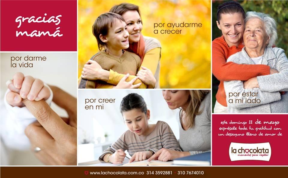 ¡GRACIAS MAMÁ!  Este domingo 11 de mayo exprésale toda tu gratitud a esa mujer que te dio la vida con un delicioso desayuno lleno de amor de La Chocolata y sórprendela en su día.  Pedidos: www.lachocolata.com.co Fecha limite de pedidos: miércoles 8 de mayo a las 6:00 pm