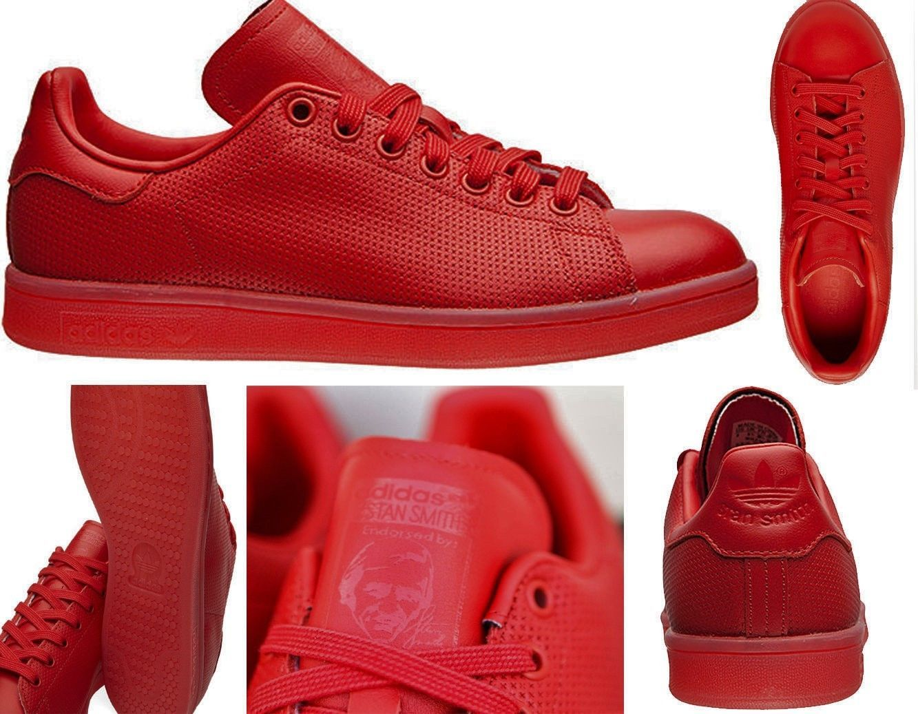 New Mens Adidas Originals Stan Smith Adicolor Shoes Red Red S80248 Superstar