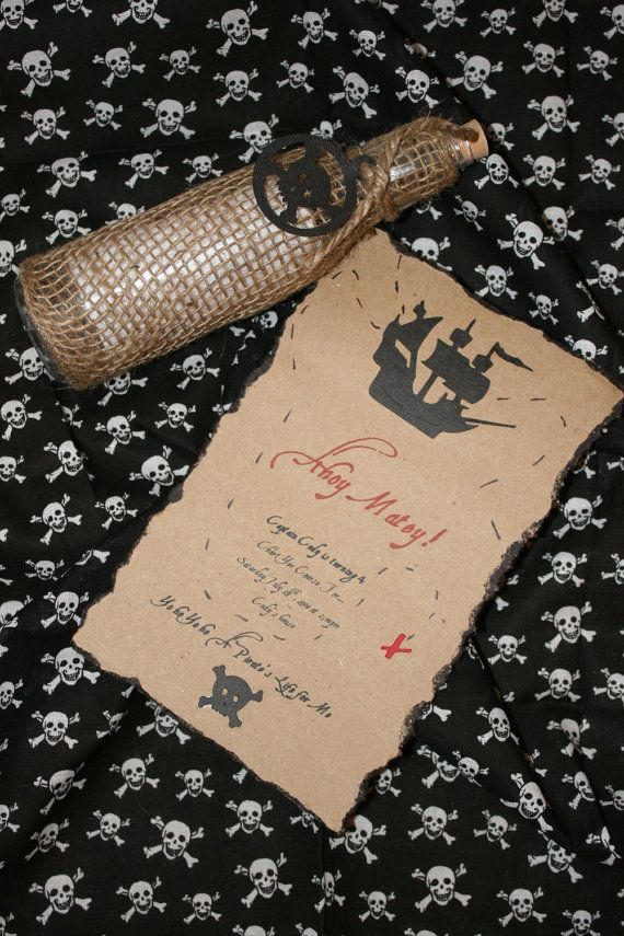Pirate treasure map invitation. The bottle inspired me to make a ...