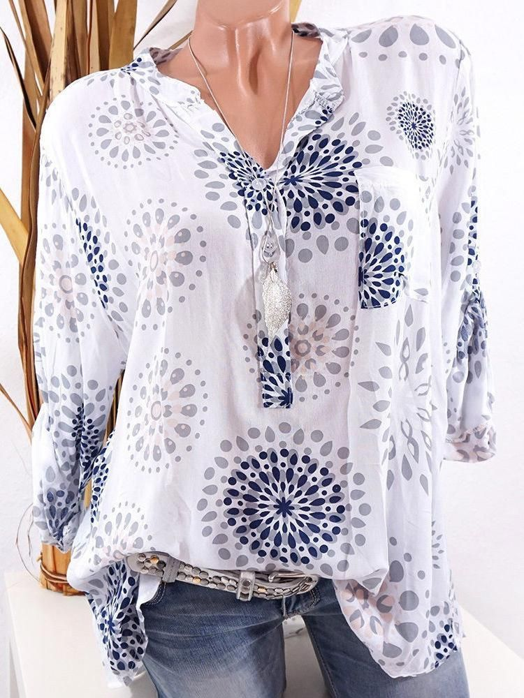 751a08620d V-neck Print Long Sleeves Loose Blouse with Plus Size in 2019