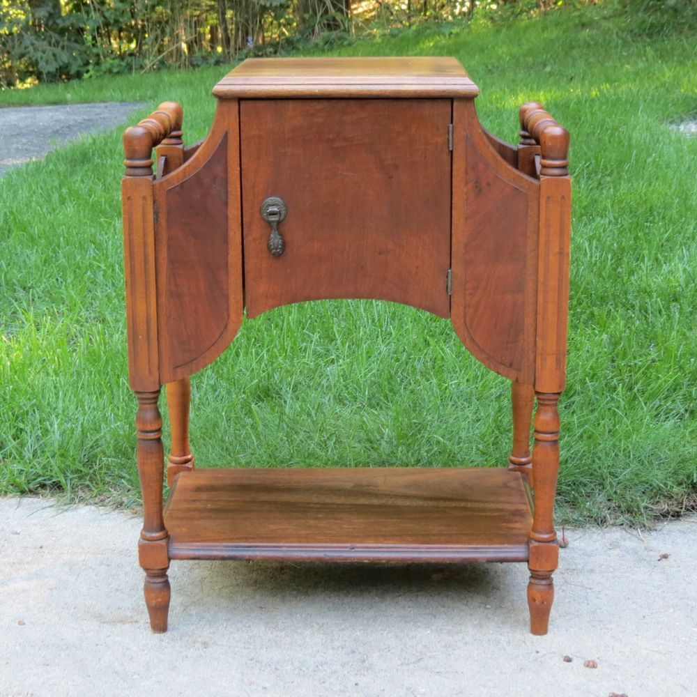 Antique Walnut Smoking Stand Table Tobacco Cabinet Copper Lined ...