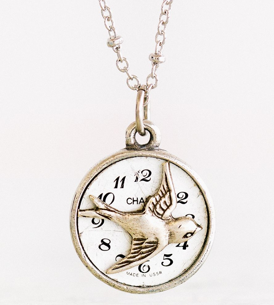 Edge Of Seventeen Vintage Watch Face Necklace | Cleverly combining a swallow in flight with a vintage watch fa... | Necklaces