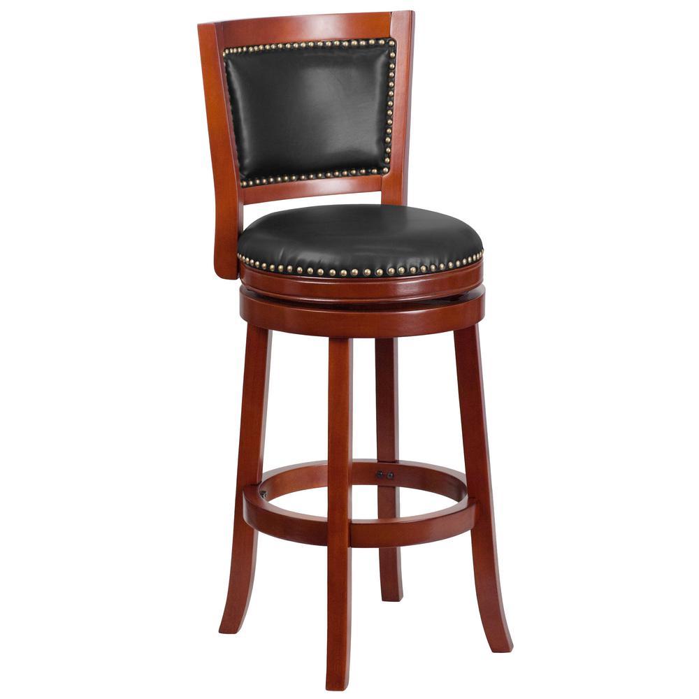 Flash Furniture 30 5 In Dark Cherry And Walnut Swivel Cushioned