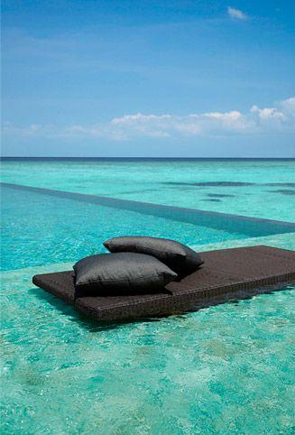 Villingili Resort and Spa, Maldives. infinity pool overlooking the lagoon. um, yes.