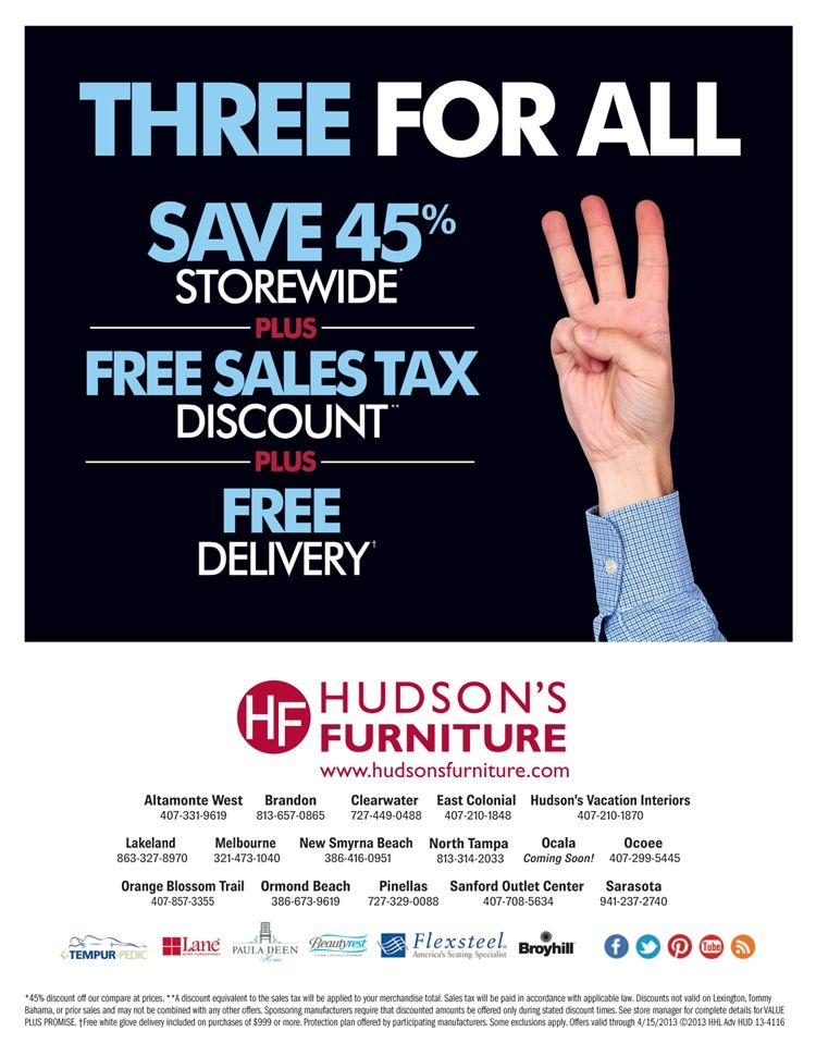 Captivating Hudsons Furniture   Current Furniture Promotions   Tampa, St Petersburg,  Orlando, Ormond Beach Furniture Store. 4.3.13