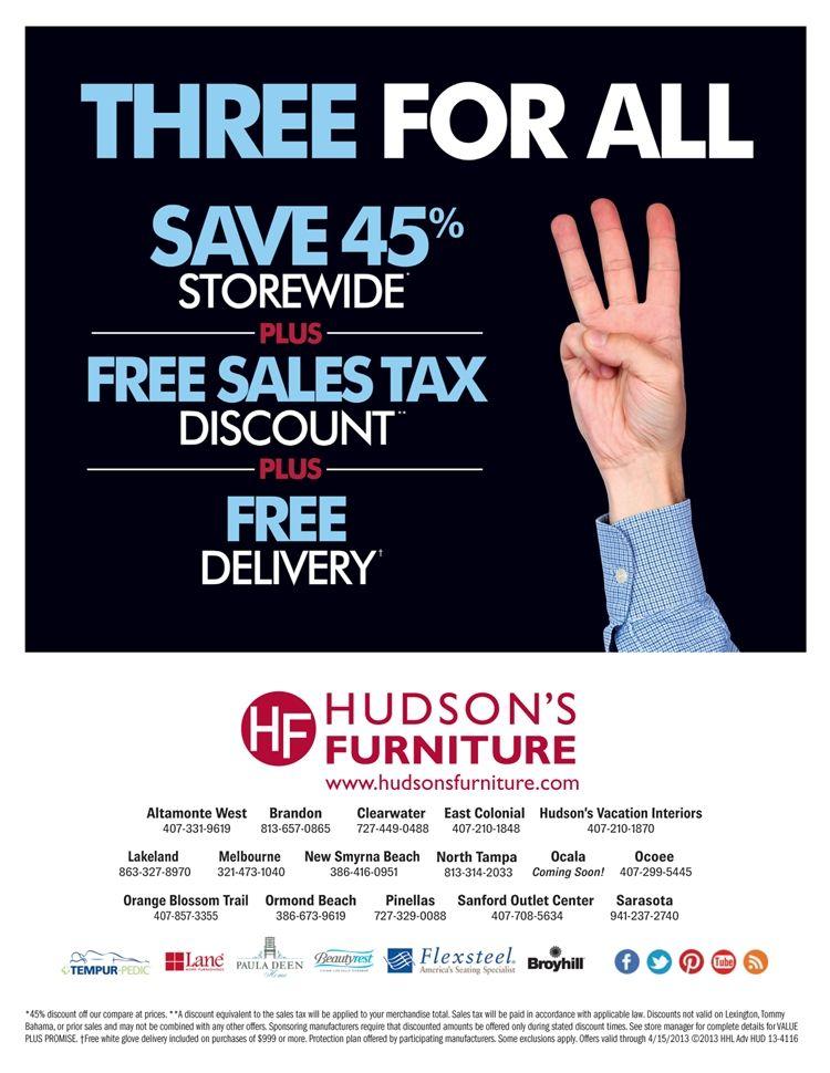 Hudsons Furniture Cur Promotions Tampa St Petersburg Orlando Ormond Beach 4 3 13