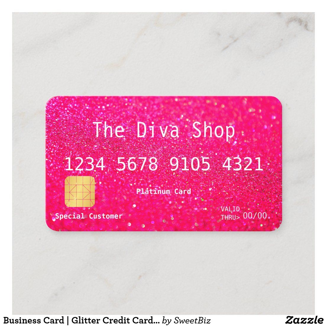 Business Card Glitter Credit Card Pink Zazzle Com Small Business Credit Cards Credit Card Design Business Credit Cards