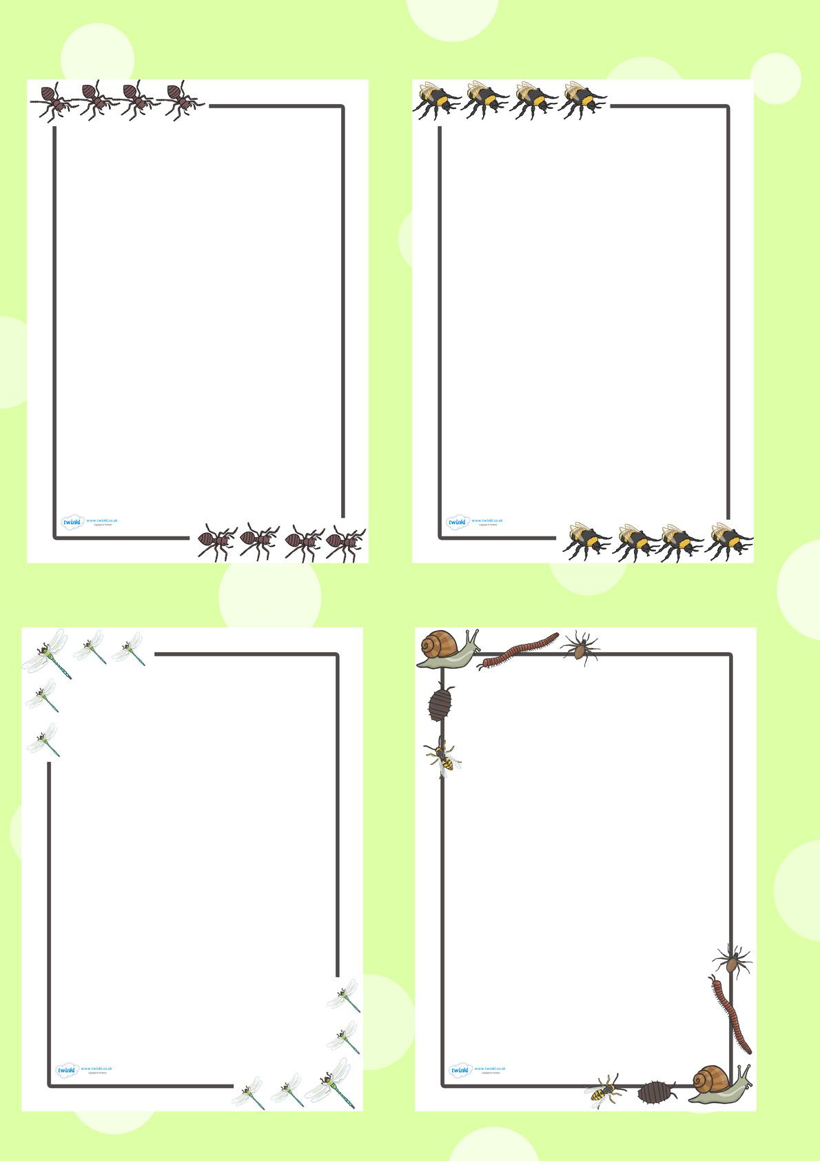 Twinkl Resources Minibeast Page Borders Printable resources for ...