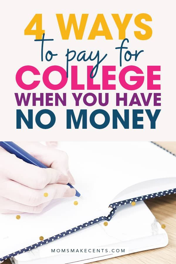 Four Ways To Pay For College When You Have No Money is part of Financial aid for college, College money, Scholarships for college, College debt free, College debt, Education college - Want to know how to pay for college on your own without loans  Learn how I paid for three bachelors degrees and a masters degree debt free