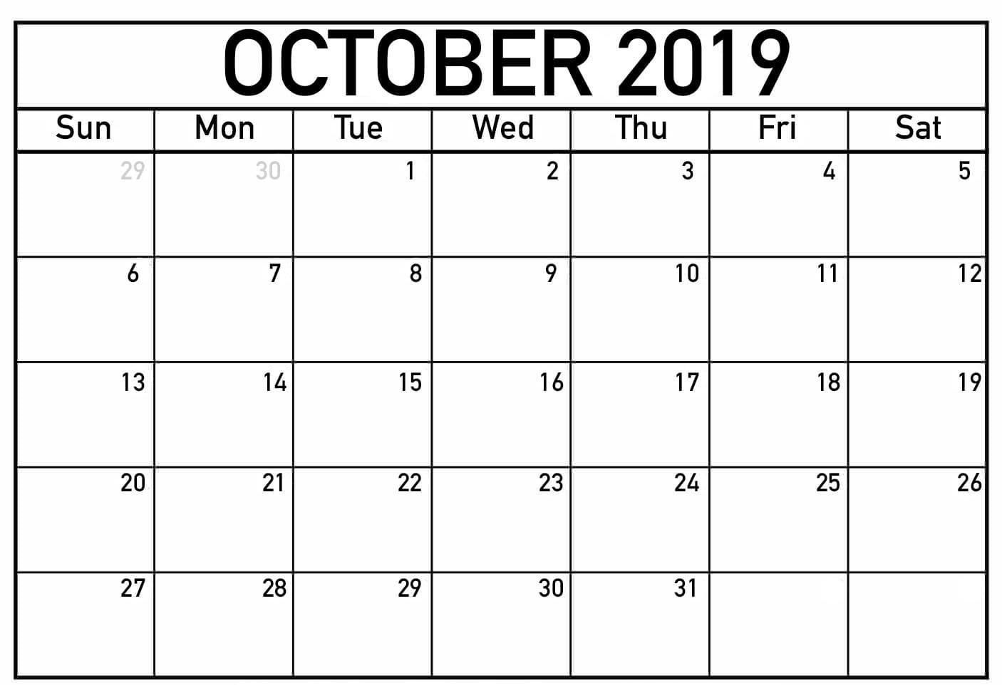 Free Fillable Calendar For October 2019 Printable Editable