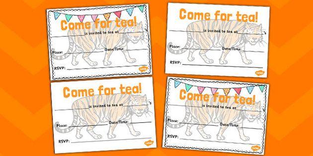 Tiger tea invitation templates party ideas pinterest tiger invitation templates stopboris Images