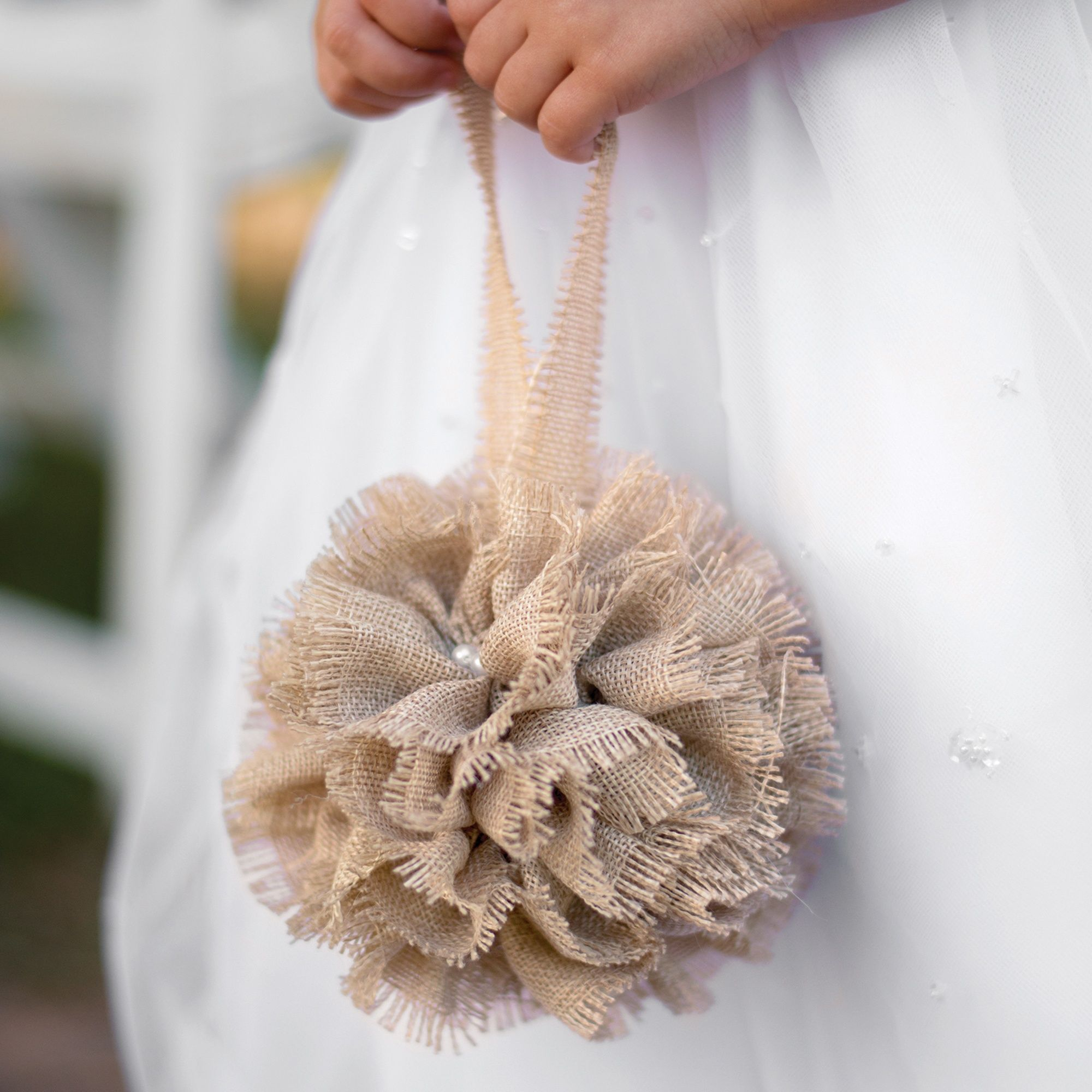 Buy The White / Burlap Kissing Ball (Flower Girl Basket Alternative) Or  Other Flower Baskets U0026 Petals From Wedding Favors Unlimited Today!
