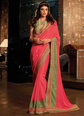 Pink Embroidery Sequin Work Silk Fancy Designer Party Wear Sarees http://www.angelnx.com/Sarees/Party-Wear-Sarees