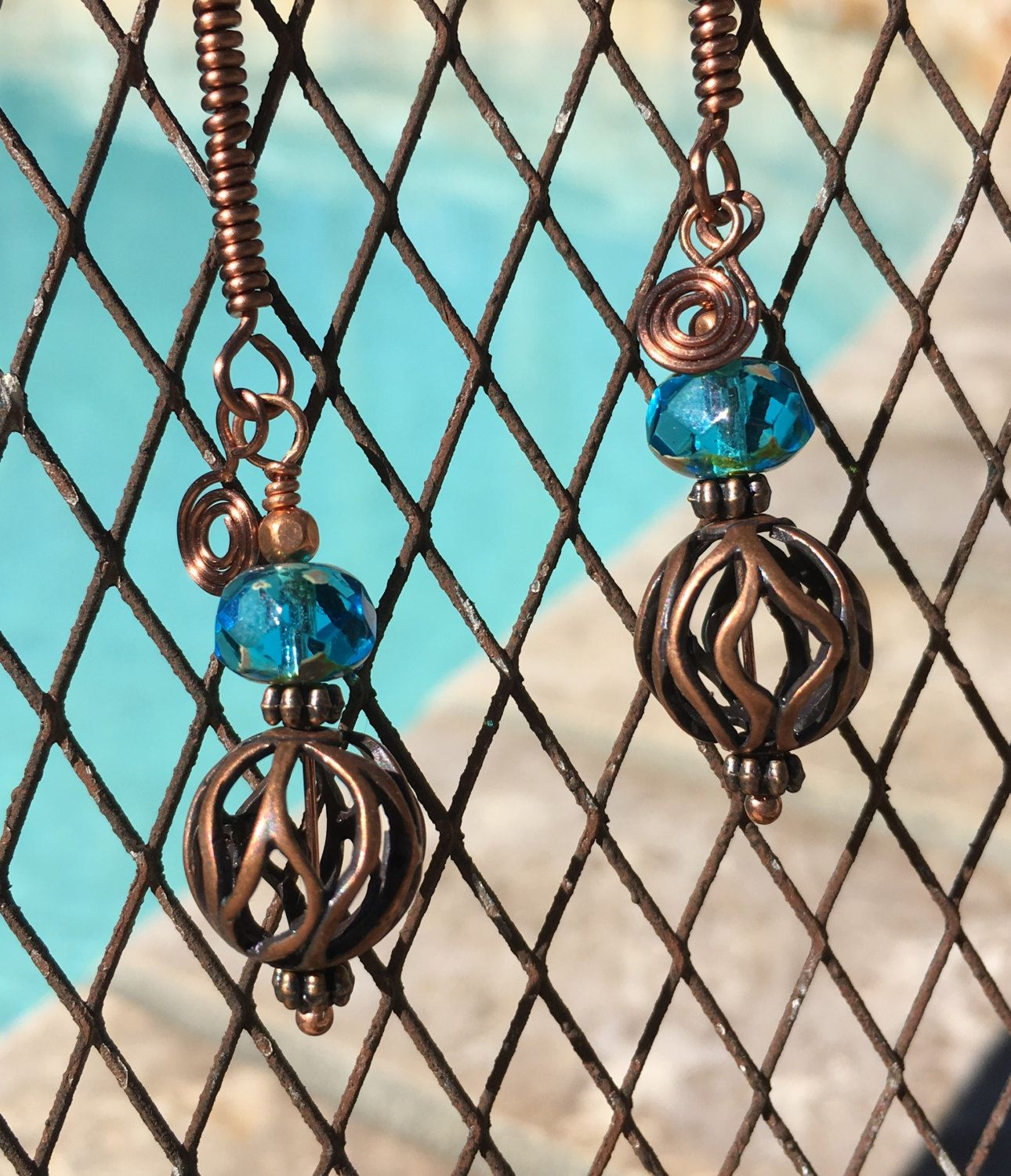 copper filigree earrings turquoise glass beads filigree earrings