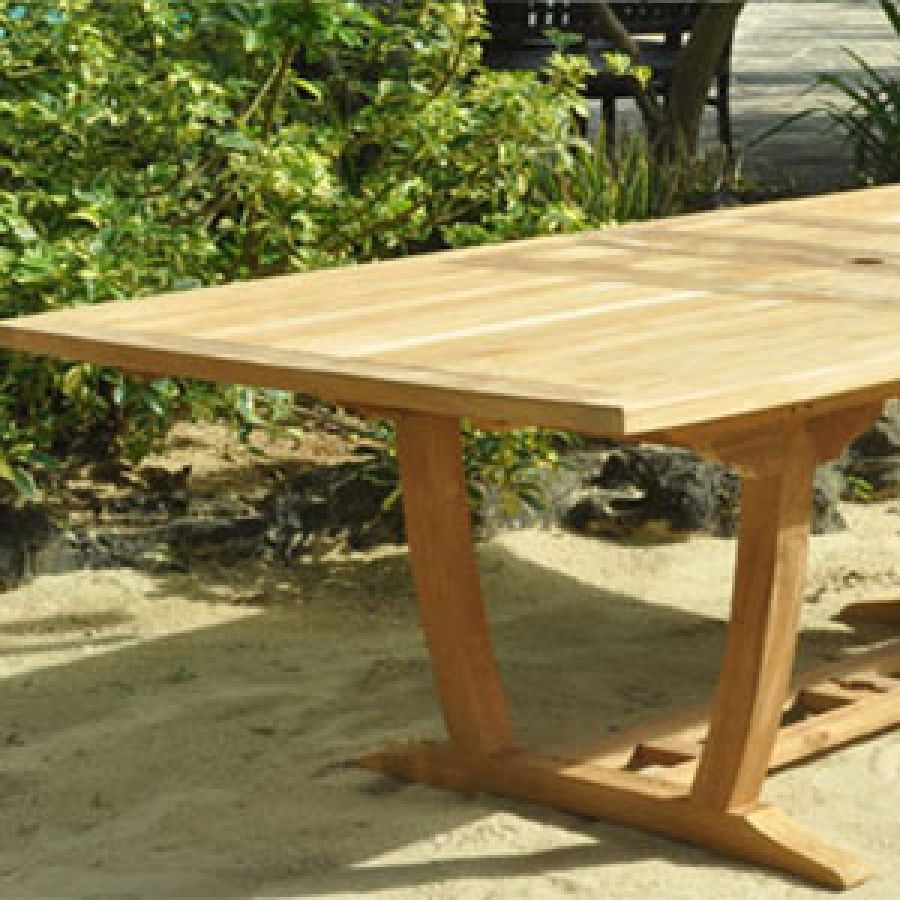 Agean Teak Outdoor Rectangular Table Patio Extension