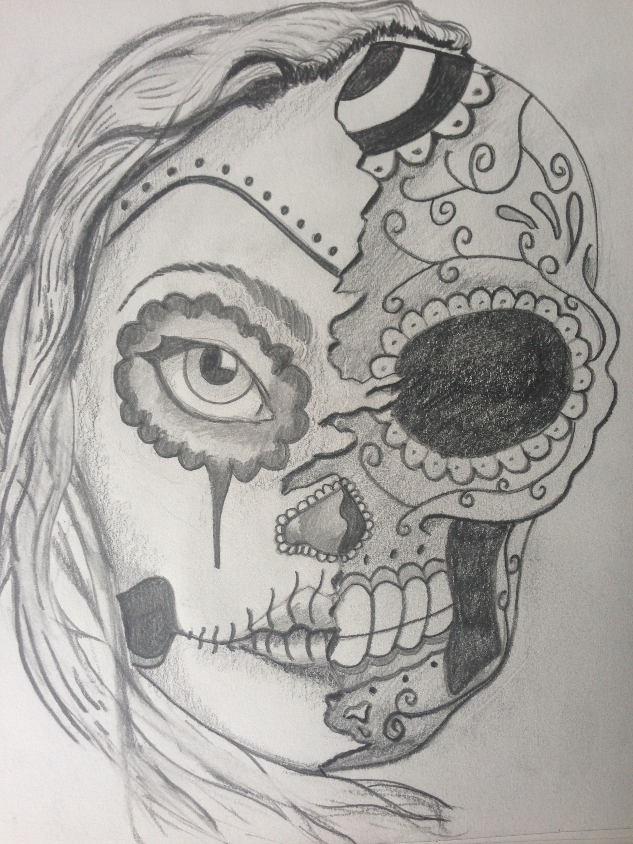 sugar skull meurto girl morph sketch drawings