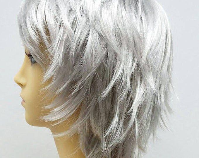 Short Layered Wind Blown Shag Style Black Cosplay Wig. [11-61-Blsh-Black]