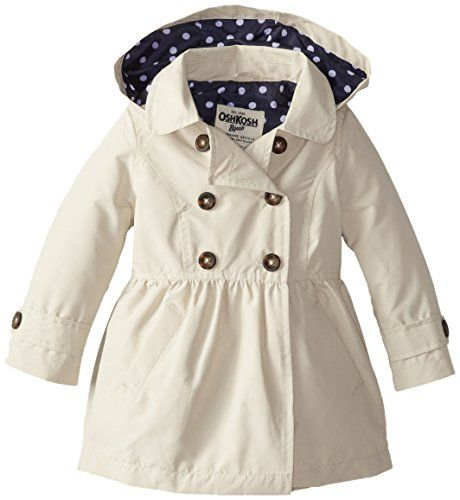 Osh Kosh Little Girls' Midweight Trench Coat with Hood, Pebble, 3T ...