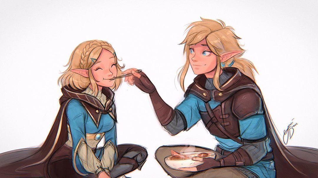 Legend Of Zelda Breath Of The Wild Sequel Inspired Concept Art Link Feeding Princess Zelda Botw 2 Yessid Legend Of Zelda Breath Legend Of Zelda Zelda Art